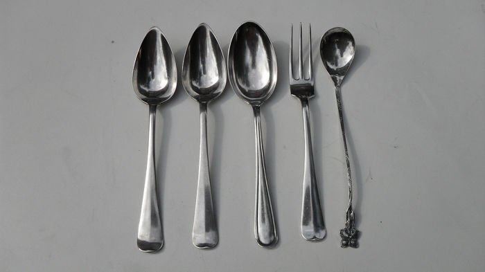 Fork, Silver spoons & fork, Spoon (5) - .833 silver - The Netherlands - First half 20th century