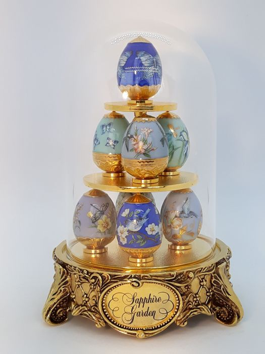 House of Fabergé - Fabergé, Franklin Mint - Figuur/beeld, The Garden of Sapphire met originele doos - Porselein, Verguld