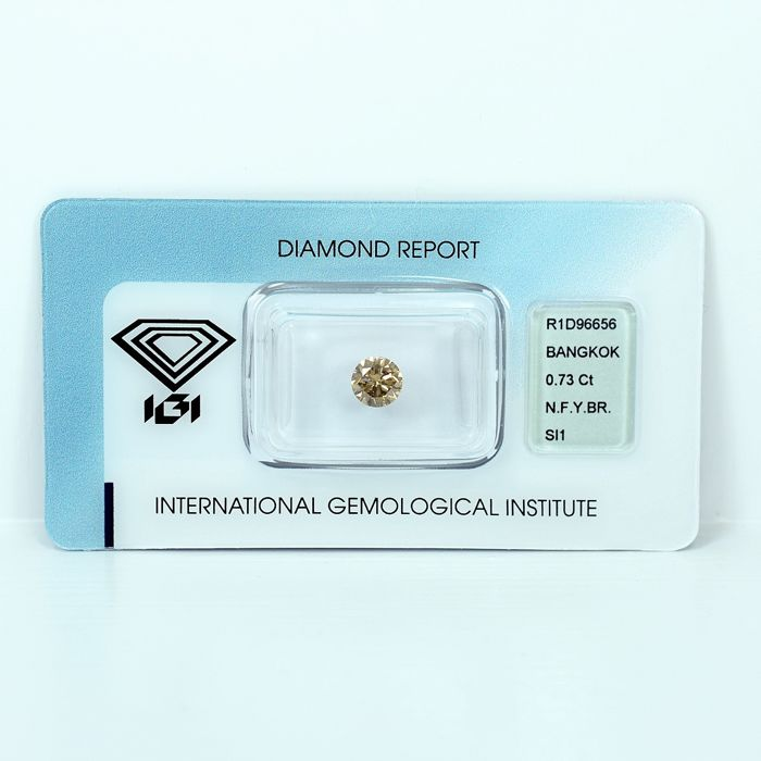 Diamant - 0.73 ct - Brillant - Natural Fancy Yellowish Brown - SI1