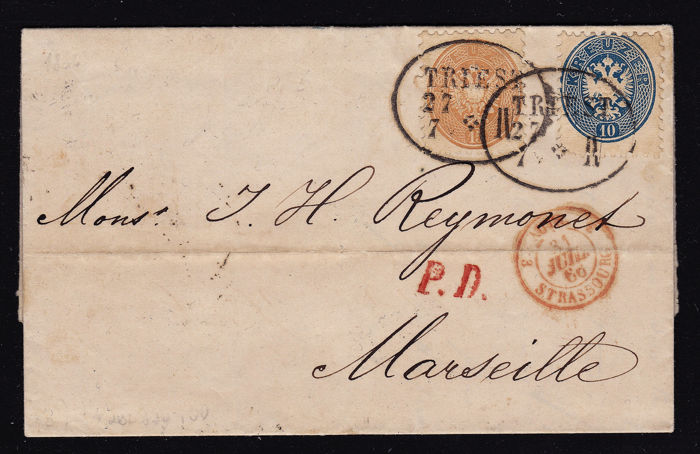 Austria 1860 - complete folding letter as a foreign letter from Trieste to Marseille