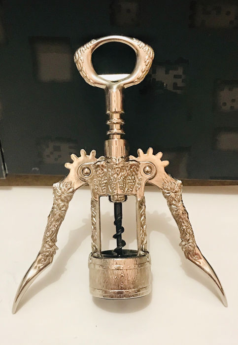 Rare Double Lever Corkscrew Steel Beautifully Carved - Steel (stainless)