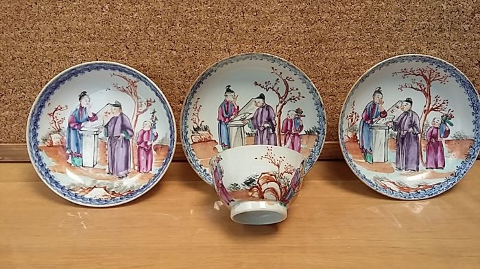Tea Cup and saucers (4) - Familie rose - Porselein - China - Qing Dynastie (1644-1911)