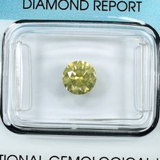 Diamante - 1.03 ct - Brillante - Natural Fancy Greenish Brownish Yellow - Si2 - NO RESERVE PRICE