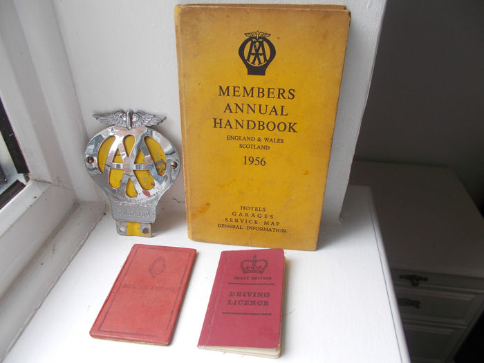 Badge - Vintage AA  chrome on brass car badge , members handbook  hardback and 2 GB driving licences - 1938-1975
