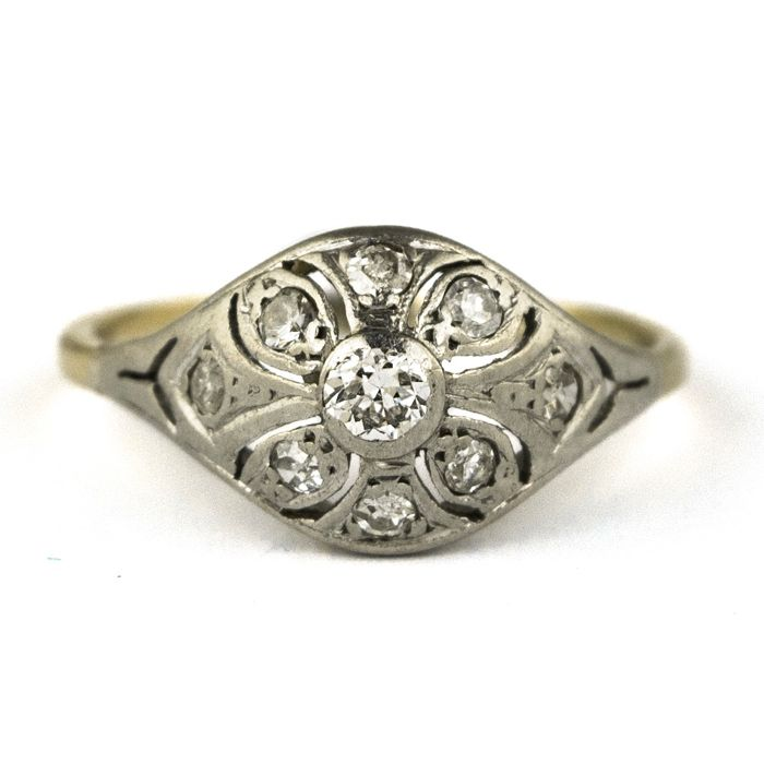 Authentic Antique Art Deco - 18 karaat Witgoud - Ring Diamant