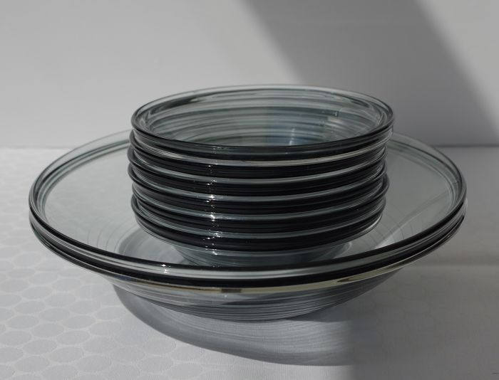 """A. D. Copier for Leerdam - """"Primula"""" - 7-piece set of compote dishes - Glass"""