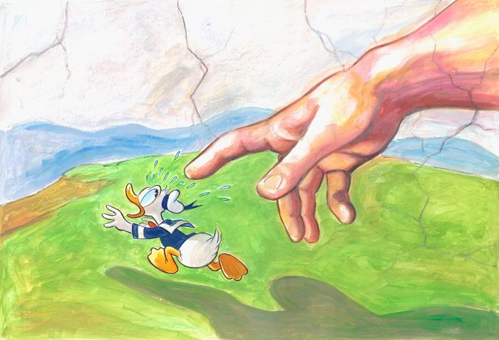 """Donald Duck Inspired by Michelangelo's """"The Creation of Adam"""" - Large Painting - 70x50cm - Tony Fernandez - Acrylic Art"""