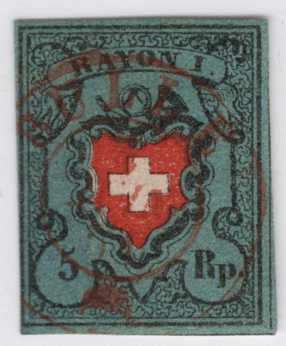 Switzerland 1850/1854 - Rayon I with framed cross, centrally postmarked with the red double circle from Bulle. Moser - Zumstein Nr. 15I.c.