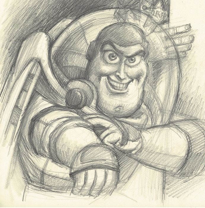 Toy Story Sheriff Woody Buzz Lightyear Original Drawing