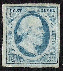 Pays-Bas 1852 - 1852 King Willem III 5 ct blue imperforate on thin porous paper - NVPH 1r plaat VI pos.3