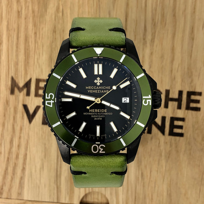 Meccaniche Veneziane - Automatic Diver Watch Nereide 3.0 Green Black PVD Swiss Made - 1202011 - Herren - BRAND NEW