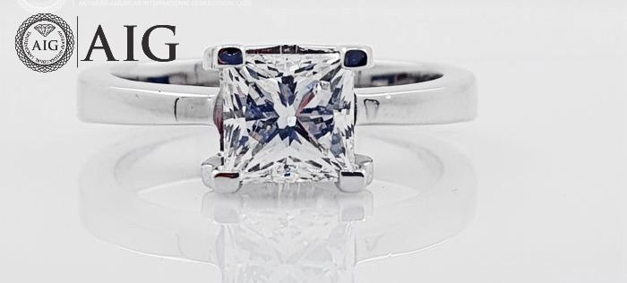 18 kt. White gold - Ring - Clarity enhanced 1.25 ct Diamond