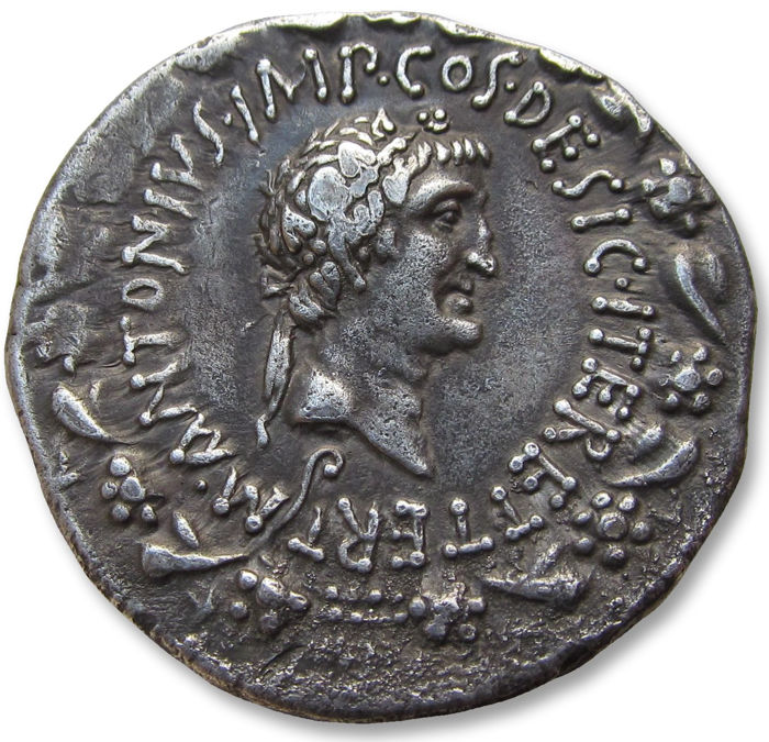Roman Republic - AR Cistophoric Tetradrachm Marc Antony & Octavia.  Ionia, Ephesus mint 39 B.C. - large 27mm silver coin in excellent condition - Silver