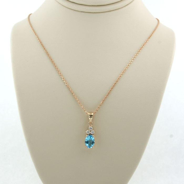 14 kt. Pink gold - Necklace with pendant - 0.11 ct Diamond - Topaz