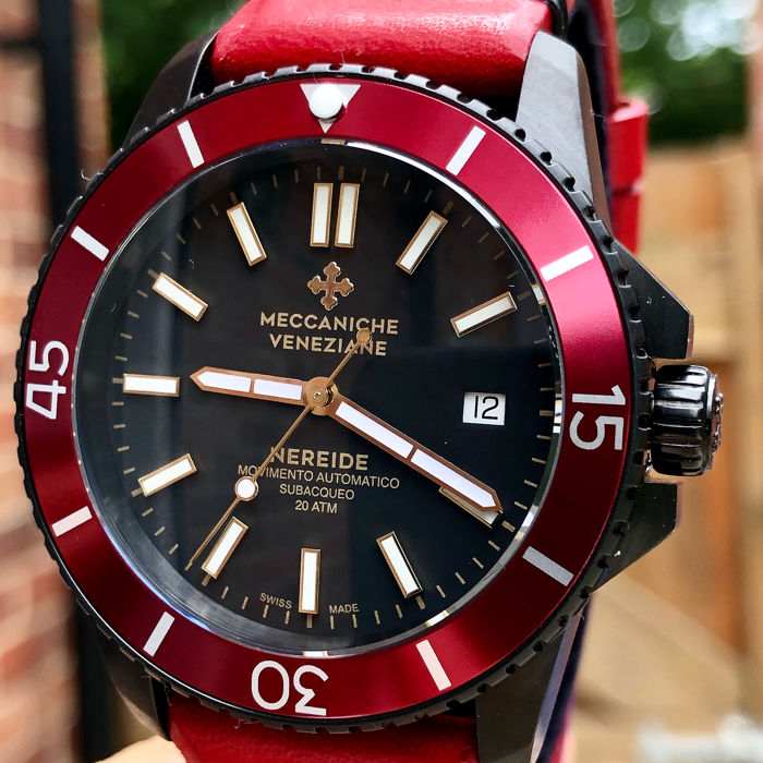 "Meccaniche Veneziane - Diver Nereide 3.0 Red Black PVD EXTRA Rubber Strap ""NO RESERVE PRICE"" - 1202012 ""NO RESERVE PRICE"" - Men - BRAND NEW"
