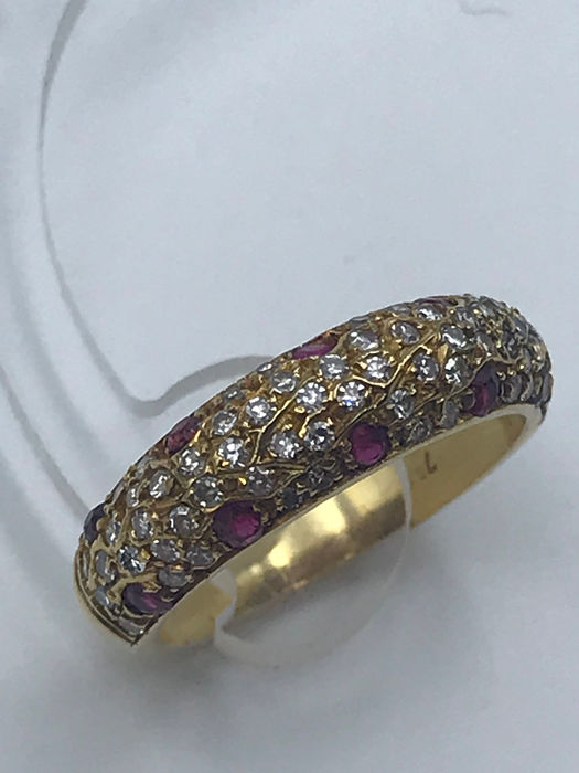 18 carats Or jaune - Bague - 0.40 ct Rubis - Diamants