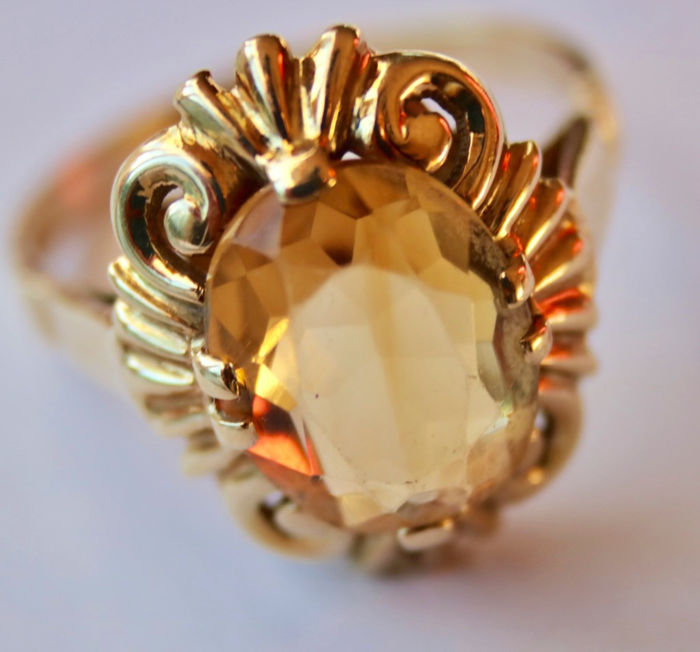 14 kt. Yellow gold - Ring - 4.19 ct Citrine