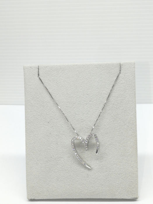 18 kt. White gold - Necklace - 0.15 ct Diamond
