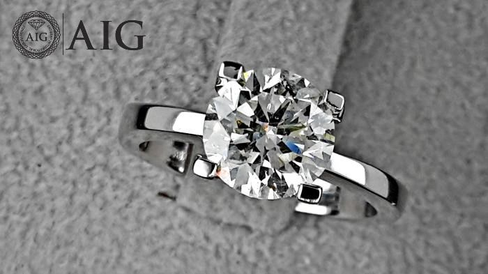 18 kt. Gold, White gold - Ring - Clarity enhanced 2.04 ct Diamond