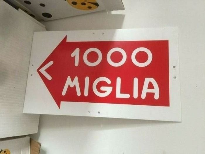 Sign - Genuine 1000 Miglia Race Sign - Direction Road Sign - Mille Miglia  - 2000