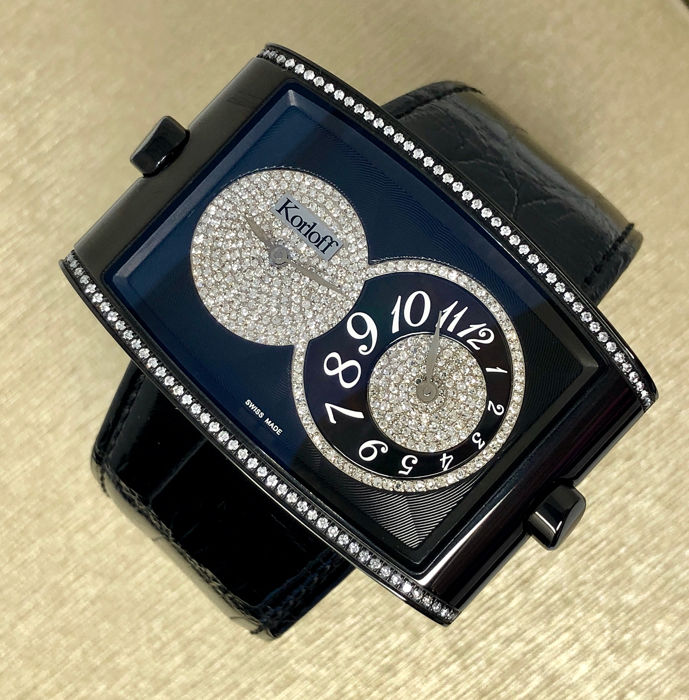 Korloff - Diamonds Dual Time Watch 1.92 Carat Black Swiss Made  - DT52B/699 - Women - BRAND NEW