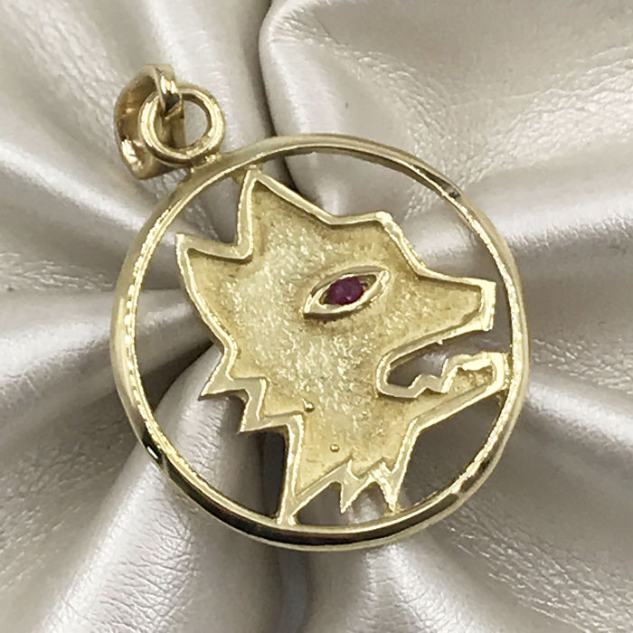 18 kt. Yellow gold - Pendant - 0.02 ct Ruby