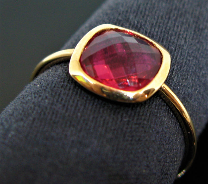 18 kt Roségold - Ring - 1.30 ct rosa Turmalin
