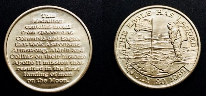 Apollo 11 - Medallion Blended with Flown Metal from Eagle Apollo & Columbia Missions that went to - & Columbia Missions that went to the Moon