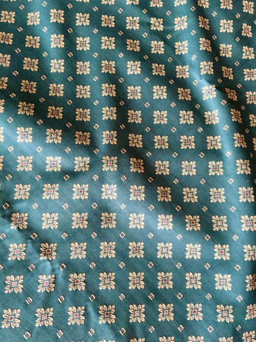 5,50x1.40m. Made in Italy damask fabric with bottle green stars. - Damask, Textiles