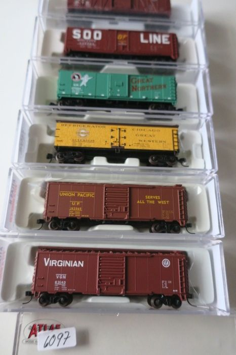 Atlas N - Freight carriage - 6 pieces of box car - US - Catawiki