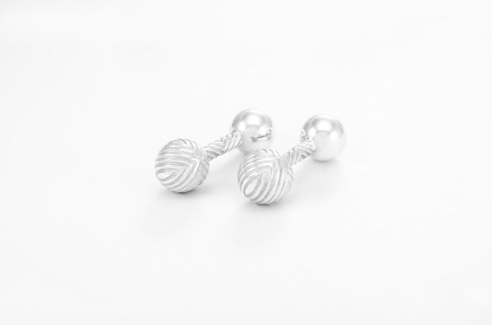 Tiffany & Co.Textured Barbell Cuff Links  Zilver - Manchetknopen