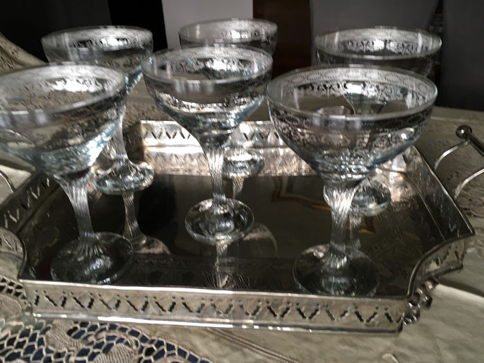 Champagne tray and glasses set - Silver plated - crystal