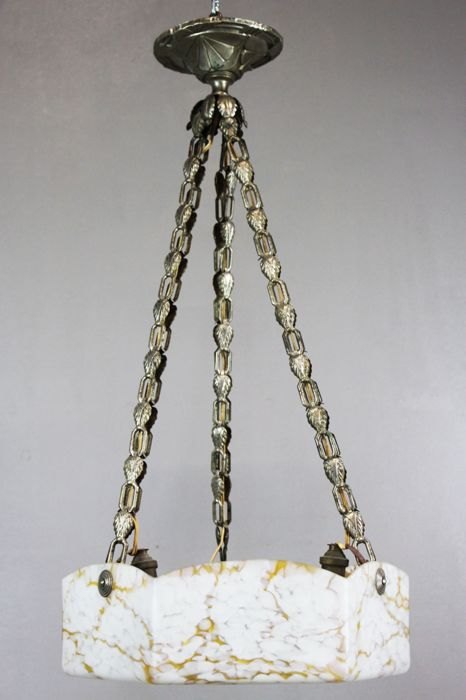 Art Deco 3-light hanging lamp with hexagonal marbled spatter glass bowl