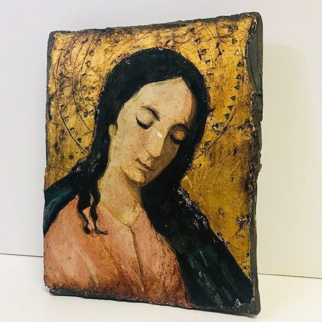 Antique Italian icon hand-painted - Wood Curio Devotional Items for sale