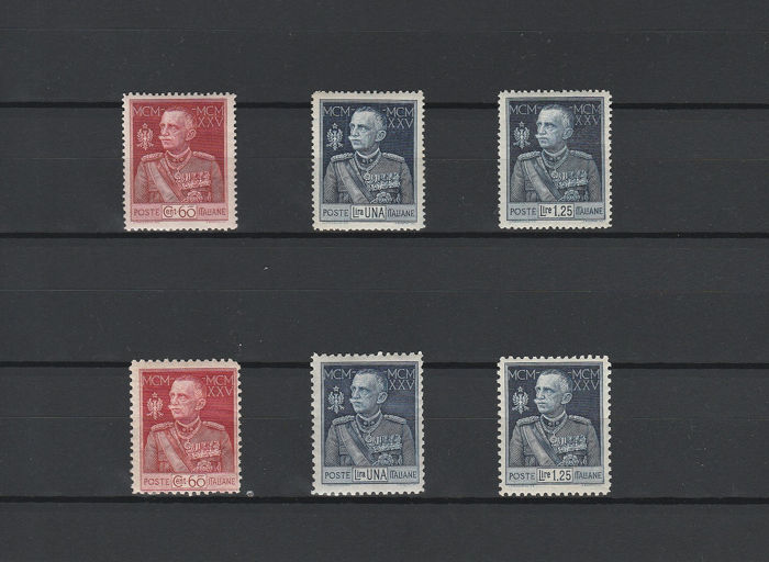 Italy 1925/1926 - Jubilee of the King, perforation 11 + 13 and 1/2, MNH - Sassone S36, S37