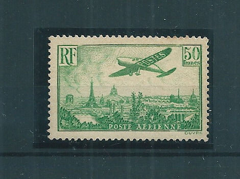 France 1936 - Airmail - 50f green-yellow - Yvert n°14