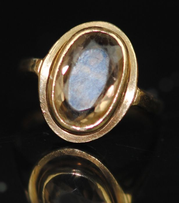 9K Oro - Anillo, Smokey Quartz