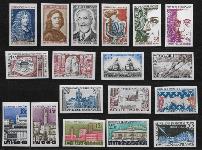 France 1958/1974 - 18 Imperforated stamps - Yvert 1152a/1785a