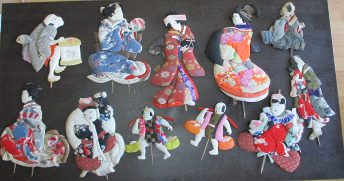 Oshie dolls geisha servants daikokuten (11) - Bamboo, Cotton, Paper, Silk - Japan - First half 20th century
