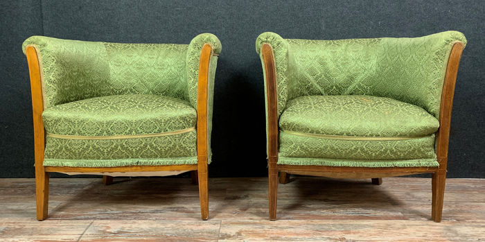 Pair of armchairs / toad - mahogany decorated with marquetry nets - 1900 circa
