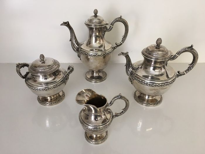 Coffee and tea service (4) - .950 silver - Boulenger - France - Second half 19th century