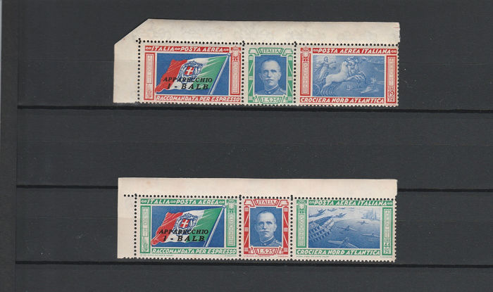 Italy 1933 - North Atlantic Cruise Triptychs I-BALB, certificates, MNH - Sassone S1509A