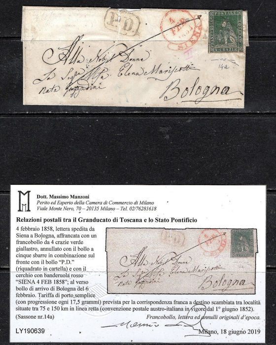 Italy 1858 - Tuscany 4 Crazie II issue - Sassone 14a