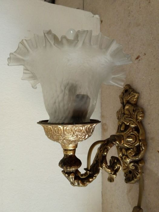 Wall lamp - Glass and brass