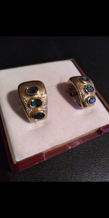 vintage Yellow gold - Earrings Sapphire