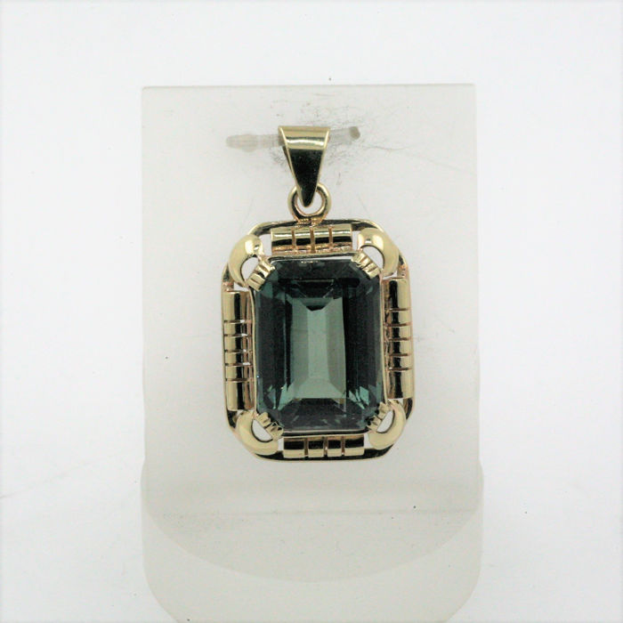 8 kt. Yellow gold - Pendant Tourmaline