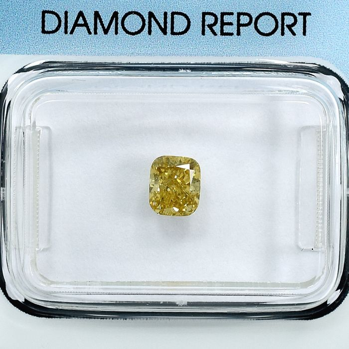 Diamond - 0.58 ct - Cushion - Natural Fancy Light Brownish Yellow - SI2