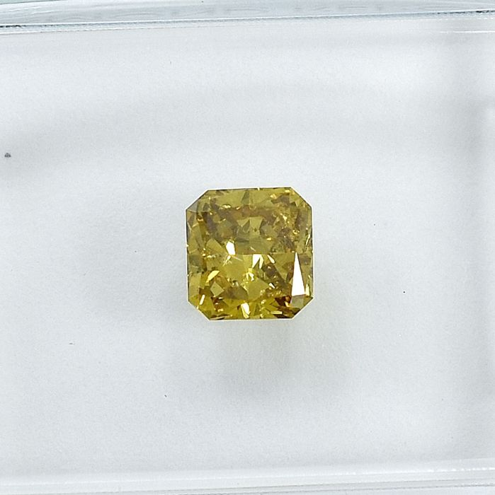 Diamant - 0.49 ct - Carré - Natural Fancy Vivid Brownish Yellow - SI2