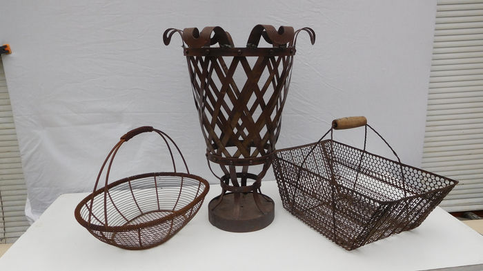 Forge Iron Fire Basket and 2 Antique Breton Harvest Baskets (3) - Iron (cast/wrought)