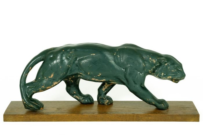 Artis - Great sculpture of Creeping Panther - Terracotta, Wood - ca. 1925